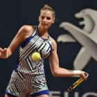 Kristyna Pliskova plays a forehand during her first round win at the US Open this morning. Photo:...