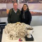 John and Mary-Liz Sanders show off their winning fleece in the Child Cancer Foundation fleece...