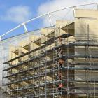 Scaffolding covers the the University of Otago Plaza Building. PHOTO: STEPHEN JAQUIERY