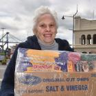 Otago Seafarers Charitable Trust managing trustee Shirley Farquhar with a care package yesterday....