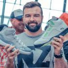 Sean McIntee gets his hands on some Air Jordans at a sneaker swap meet in Auckland. PHOTO: SUPPLIED