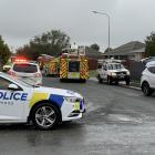 Emergency services at the scene of an explosion in Invercargill this afternoon. Photo: Abbey Palmer