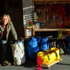 Wanaka volunteer SAR Alpine rescue team member Davie Robinson arranging the pre-packed gear for...