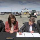 Megan Woods, Jacinda Ardern, Lianne Dalziel and Grant Robertson sign off the Canterbury Multi-Use...