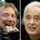 Lead singer Robert Plant (L) and guitarist Jimmy Page of the British rock band Led Zeppelin....