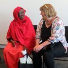 Former Somalian refugee Marian Hussein talks with Ashburton Deputy Mayor Liz McMillan at Saturday...