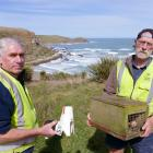 South Otago Forest & Bird yellow-eyed penguin predator trapping programme members Jim Young ...