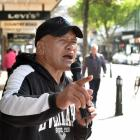 Dunedin busker Johnny Wallace performs in George St yesterday. Buskers' activity on the city's...