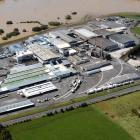 An aerial view of  Silver Fern Farms' Finegand plant on the banks of the Clutha River near...