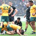 Michael Hooper of the Wallabies reacts after the final whistle in a dramatic Bledisloe Cup opener...
