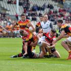 Cortez Ratima of Waikato dives over to score the match-winning try in Christchurch. Photo: Getty...
