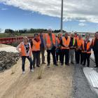 Hurunui Mayor Marie Black, second from left, joined Waimakariri Mayor Dan Gordon, fourth from...