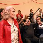 Ingrid Leary is welcomed into the South Dunedin Labour Party headquarters in Macandrew Rd. PHOTO:...