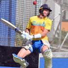 Otago all-rounder Nathan Smith ducks a short-pitched delivery during a training session at the...