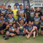 The Otago Whalers enjoy the moment yesterday after winning the Southern Zone Championship in...
