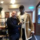Mixed martial artist Israel Adesanya (right) with Pedro's by the Lake owner Damian Brown in...