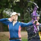 Dunedin Archery Club secretary Gertje Petersen takes aim on the line at the club on Saturday....