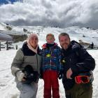 Enjoying day 40 of their ski marathon at the Cardrona Alpine Resort are (from left) Rebecca,...