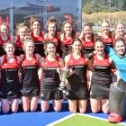 The Momona women's team is all smiles after winning the premier final on Saturday at the McMillan...
