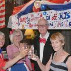 Raising a glass to President Donald Trump's defeat in the US election are (from left) Suzanne...