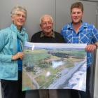 Wakanui Beach supporters (from left) Val Clemens, John Wilkie and Ross Digby with a map of the...
