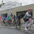 Trish Rigby leads a group of cyclists on a sponsored ride for MS Otago from Portobello to the...