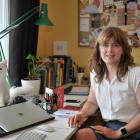 Bronwen Hurford, co-founder of The Paper People, in her home office with her Covid-19 rescue cat...