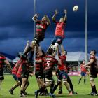 Canterbury and Tasman participate in a lineout during their match in Blenheim last night. Photo:...