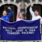 The rug worn by Cardigan Bay (pictured, left) at Yonkers Raceway in New York after he won the...