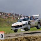 Mosgiel driver Chris Hey and his co-driver Koby Hey are airborne in their Toyota MR220 at the...