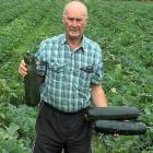 Courgette grower Brett Heap in a field where the vegetables were not picked. The courgettes have...