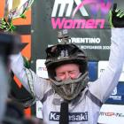 Courtney Duncan celebrates her World title in Italy. Photo: DRT Kawasaki