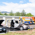 Two vehicles were damaged when they caught fire at a Cromwell holiday park today. Photo: Shannon...