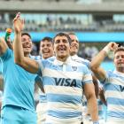 Tomas Cubelli of the Pumas thanks the crowd after their stunning win over the All Blacks. Photo:...