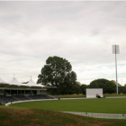 Two of the six 49m-high lights at Hagley Oval. Photo: NZ Herald