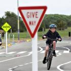 Michael (left) and Conall Fenton try out the new learn to ride track in Burwood. Photo: Supplied