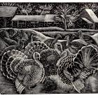 Turkeys in the Snow, (1930), wood engraving on paper, by Mary Groom. PHOTO: COLLECTION OF THE...