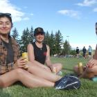 Bella Couwenberg (26, left), Emma Shaw (26, centre) and Fi Brown (30), all of Wanaka, have a...