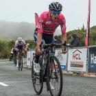 Southland's Corbin Strong wins stage four of the Tour of Southland on Bluff Hill yesterday. PHOTO...