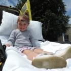 Amiria Pakeha (4) tries out a St John ambulance bed. PHOTOS: KAYLA HODGE