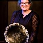 Dunedin playwright Emily Duncan receives the Bruce Mason Playwriting Award at the Playmarket...