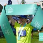 Queenstown Marathon winner David Haunschmidt, of Tauranga, who crossed the finish-line in 2hr...