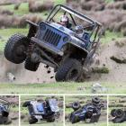 Sam Henderson (driving) and Sam Flett from Scotts Gap, near Oamaru, take a tumble during a speed...