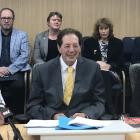 Invercargill deputy mayor Nobby Clark (left), Mayor Sir Tim Shadbolt and chief executive Clare...