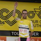 Southlander Tom Sexton celebrates with the Tour of Southland leader's yellow jersey. PHOTO: JAMES...
