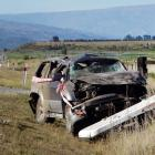 The remains of a car involved in a fatal crash near Luggate on Thursday night. PHOTO: MARK PRICE