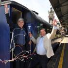 Dunedin Mayor Aaron Hawkins (left) and Dunedin City Holdings Ltd chairman Keith Cooper celebrate...