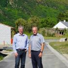 Colliers co-listing brokers Rory O'Donnell, left, and Fred Bramwell on the site of the history...