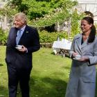 British Prime Minister Boris Johnson shares a joke with nurse Jenny McGee, of Invercargill, at 10...