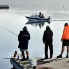 Salmon fishermen try their luck at the Otago Harbour basin earlier this year. PHOTO: STEPHEN...